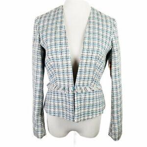 Jaclyn Smith Women S Size Medium Textured Blue White Cropped Fringe Blazer Nwt Ebay