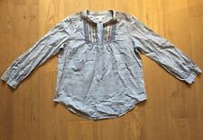 J CREW BLUE CHAMBRAY  COTTON EMBROIDERED TUNIC TOP SHIRT SZ  US 4 UK 8