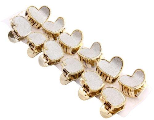 Womens Flower Heart Shape Silver Glitter Gold Hair Claw Clips Hair Accessories