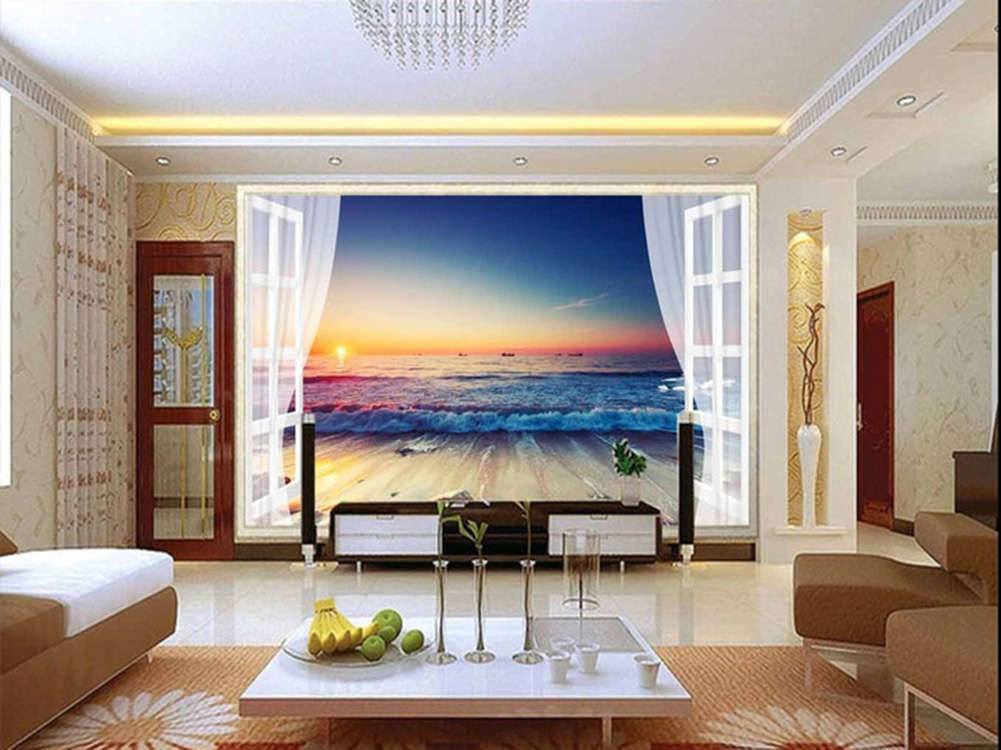 Gold Seaview Dusk 3D Full Wall Mural Photo Wallpaper Printing Home Kids Decor