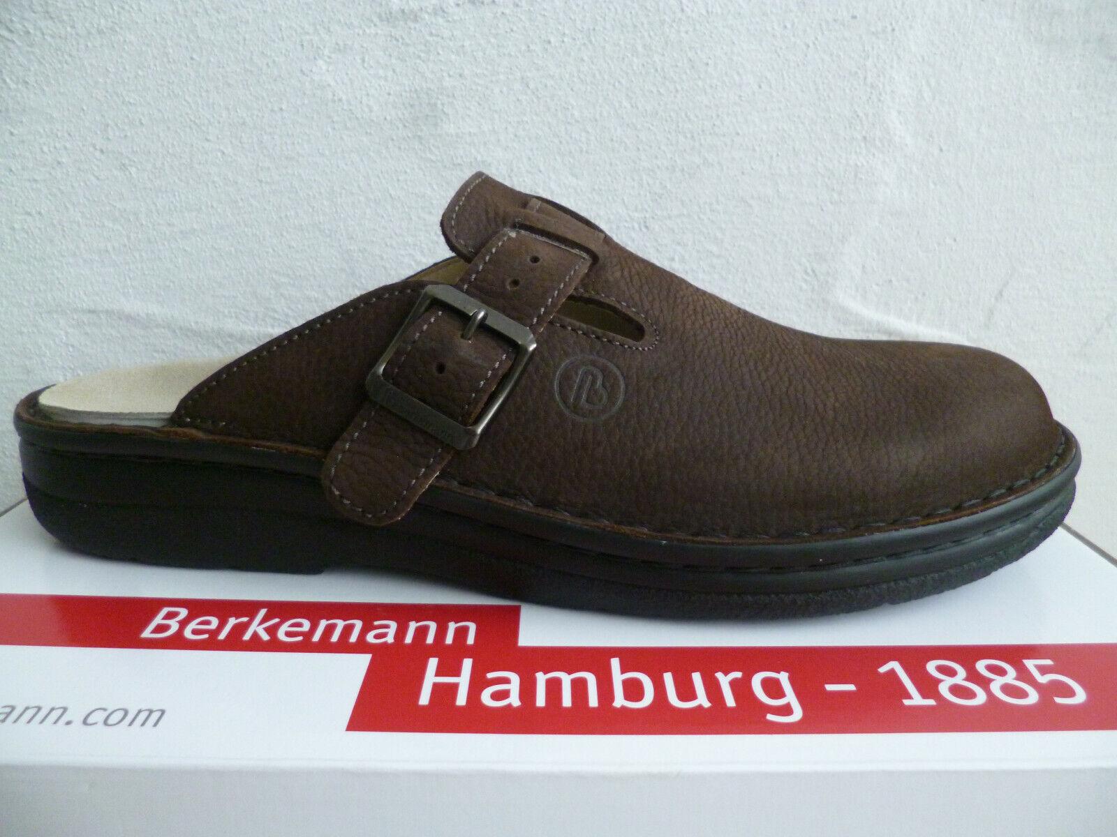Berkemann Men's Clogs Sabot Mules Slippers Leather Mocha 05708 New