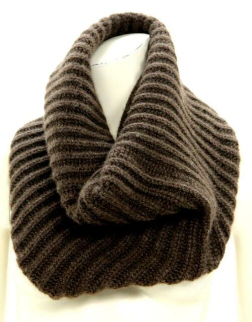 Barneys New York Brown Cashmere Ribbed Knit Infinity Scarf