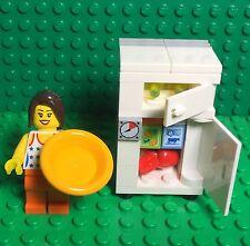 Lego New MOC Refrigerator W/ Freezer Fridge,Female Mini Figure,kitchen Interior