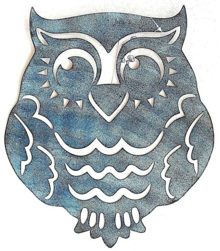 35cm metal blue owl wall art owl lovers nocturnal indoor outdoor decoration