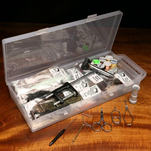 Hareline Fly Tying Materials Kit with Economy Tools and Vise