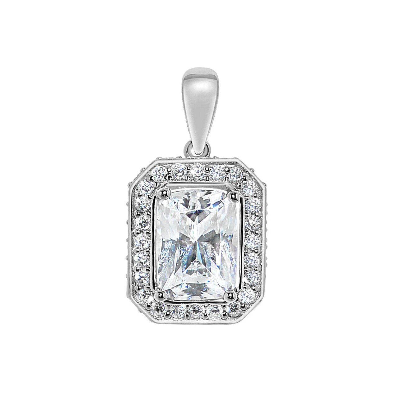 14k White gold Emerald-cut Cubic Zirconia Halo Pendant
