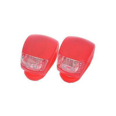 2 LED RED SILICONE MOUNTAIN BIKE BICYCLE REAR LIGHTS SET PUSH CYCLE LIGHT CLIP