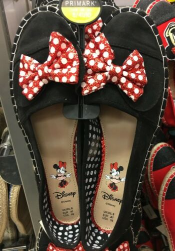 Black Primark DISNEY MINNIE MOUSE espadrilles Slip On Flat Shoes Ladies Red