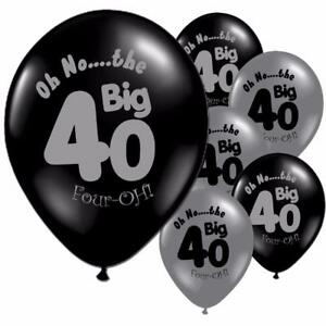 Image Is Loading 10pcs Lot 40th Birthday Black Silver Latex Balloons