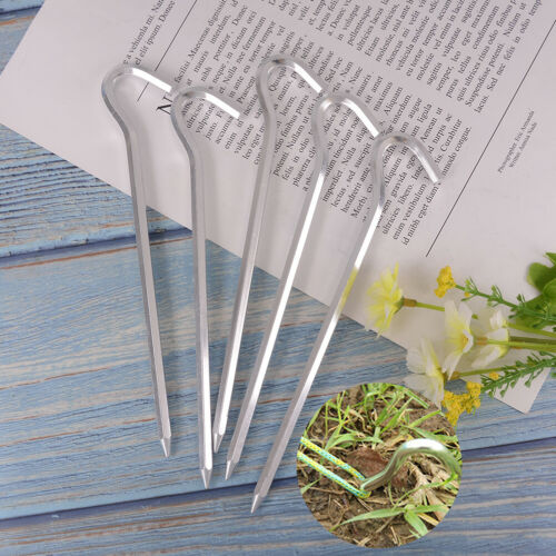 5 Pcs Alloy Tent Stakes Pegs Heavy Duty Nail Head 7.01inch Solid Steel Metal+FPT