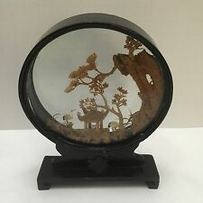 Chinese Hand Carved Wood Scene Framed Beautiful Workmanship