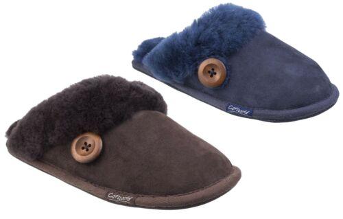 ocre Cotswold Lechlade marron Violet Ou Bleu Marine Femmes Peau De Mouton Mule Pantoufle