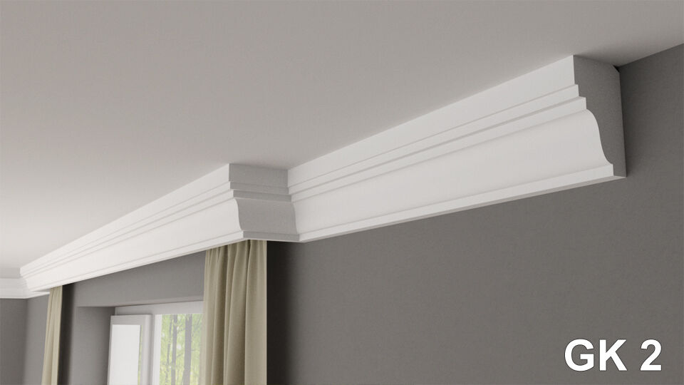 Curtain rod rail cover COVING cornice GK2 XPS lightweight MANY GrößeS 2M LONG