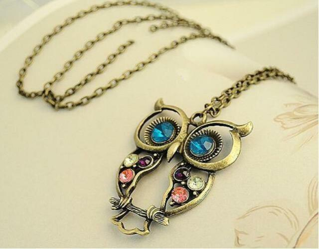 Cute Women Lady Vintage Color Rhinestone Owl Pendant Long Chain Necklace Giftsㅐ