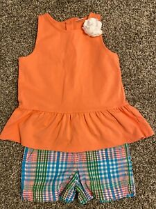 Janie and Jack Girl's Coral Tank w/ Plaid Seersucker Shorts: Size 7