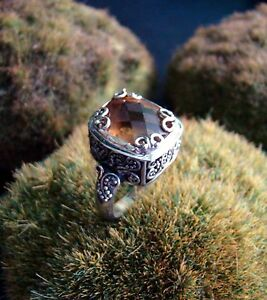 Sterling-Silver-925-Ring-Handcrafted-Citrine-Cushion-Checkerboard-Size-6-5