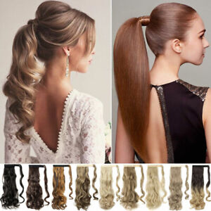 US-Real-Thick-Clip-In-On-Hair-Extensions-Pony-Tail-Wrap-Around-Ponytail-as-human