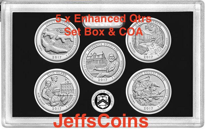 2017 S Park Quarters 225th Enhanced ATB 5 Coins via U.S.Mint Set Box COA Incl.
