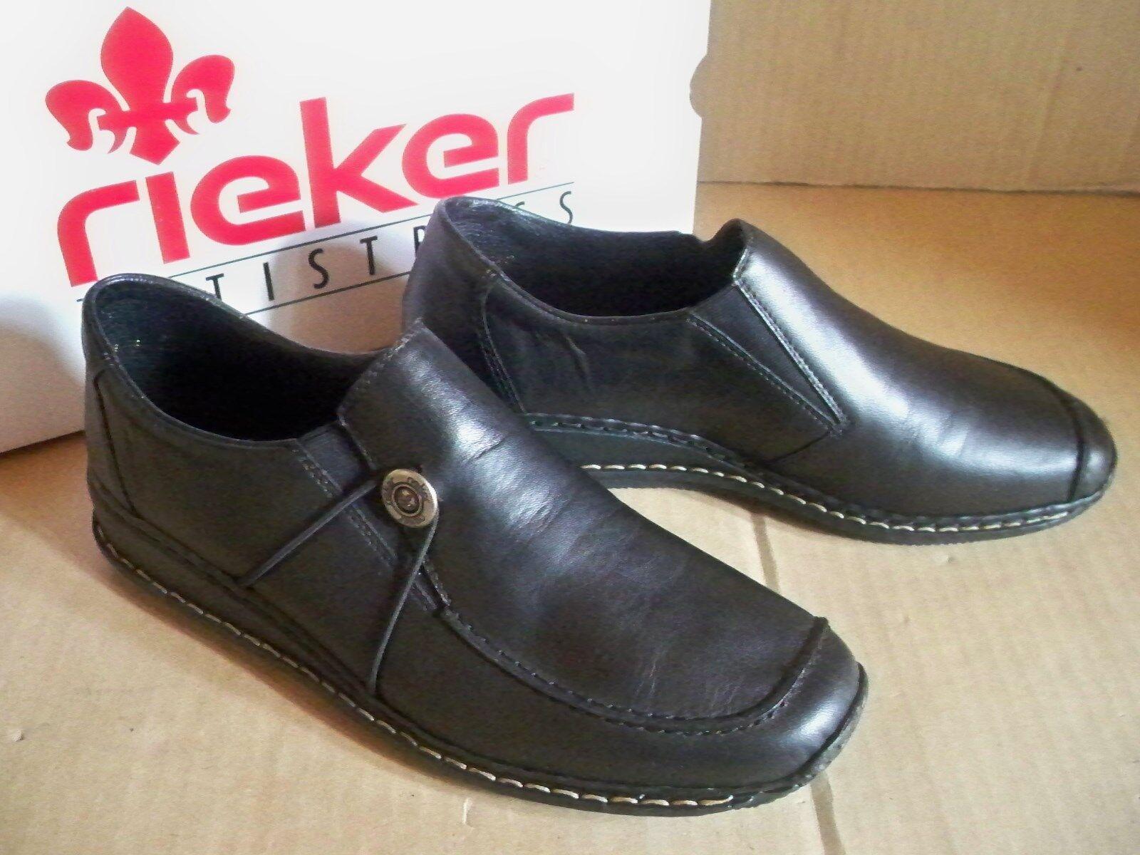 rieker BNTISTRESS   Slipper schwarz Leder 44381-00