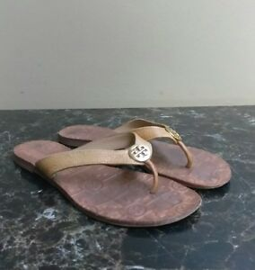 2bcbefcde TORY BURCH THORA WOMAN S FLIP FLOPS WITH LOGO LEATHER RUBBER SOLE ...