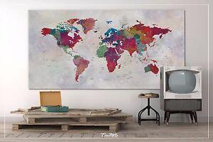 Push Pin Map Extra Large Splatter Push Pin World Map Large Canvas