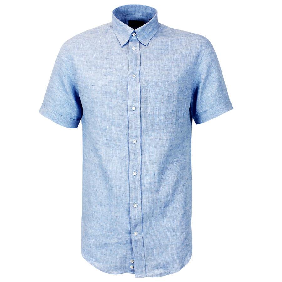 EMPORIO ARMANI Camicia blu Lino Collare 15   NUOVO CON ETICHETTE  RRP