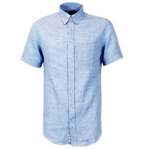 9b7b2ea528 Details about Emporio Armani Blue Linen Shirt 15