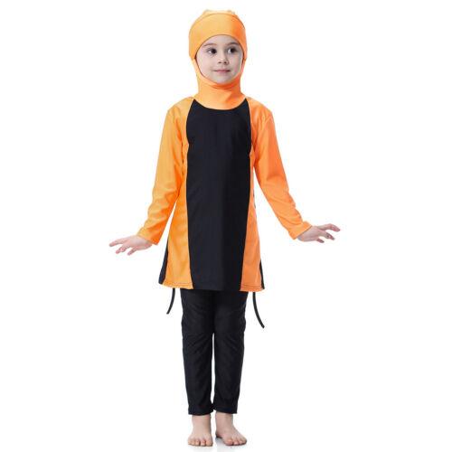 Musulmans Enfants Filles modestie Swimwear Maillot de bain burqini islamique Full Cover Beachwear