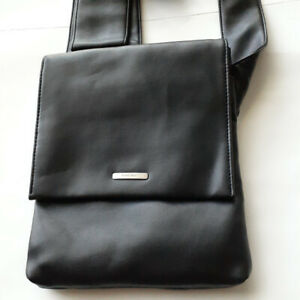 Vintage-Nine-West-Black-Genuine-Leather-Cross-Body-Shoulder-Bag-Tote-Very-Rare