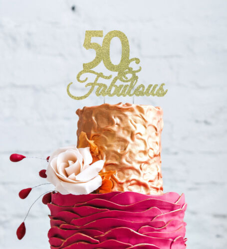 Fifty 50 /& Fabulous Topper Glittery Dark Pink 50th Birthday Cake Topper