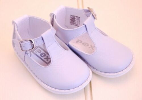 Buckle Fastening Rubber Sole Padded Inser Pex Leather Blue // White T-Bar Shoe