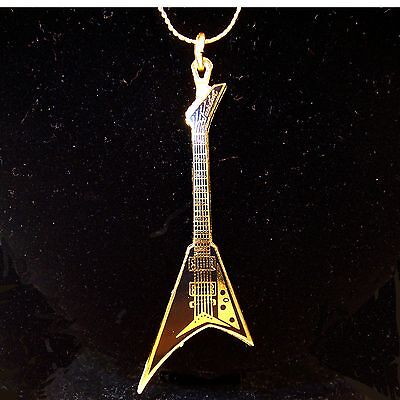 Shark Fin Electric Guitar Miniature Scaled Replica Pendant Necklace Gold Plated