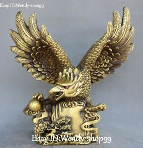17-034-Chinese-Pure-Bronze-Fengshui-Eagle-Hawk-Glede-Bird-King-Animal-Tree-Statue
