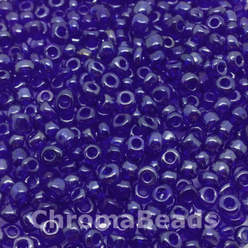 approx 4mm 50g glass seed beads Deep Blue Transparent Lustered size 6//0