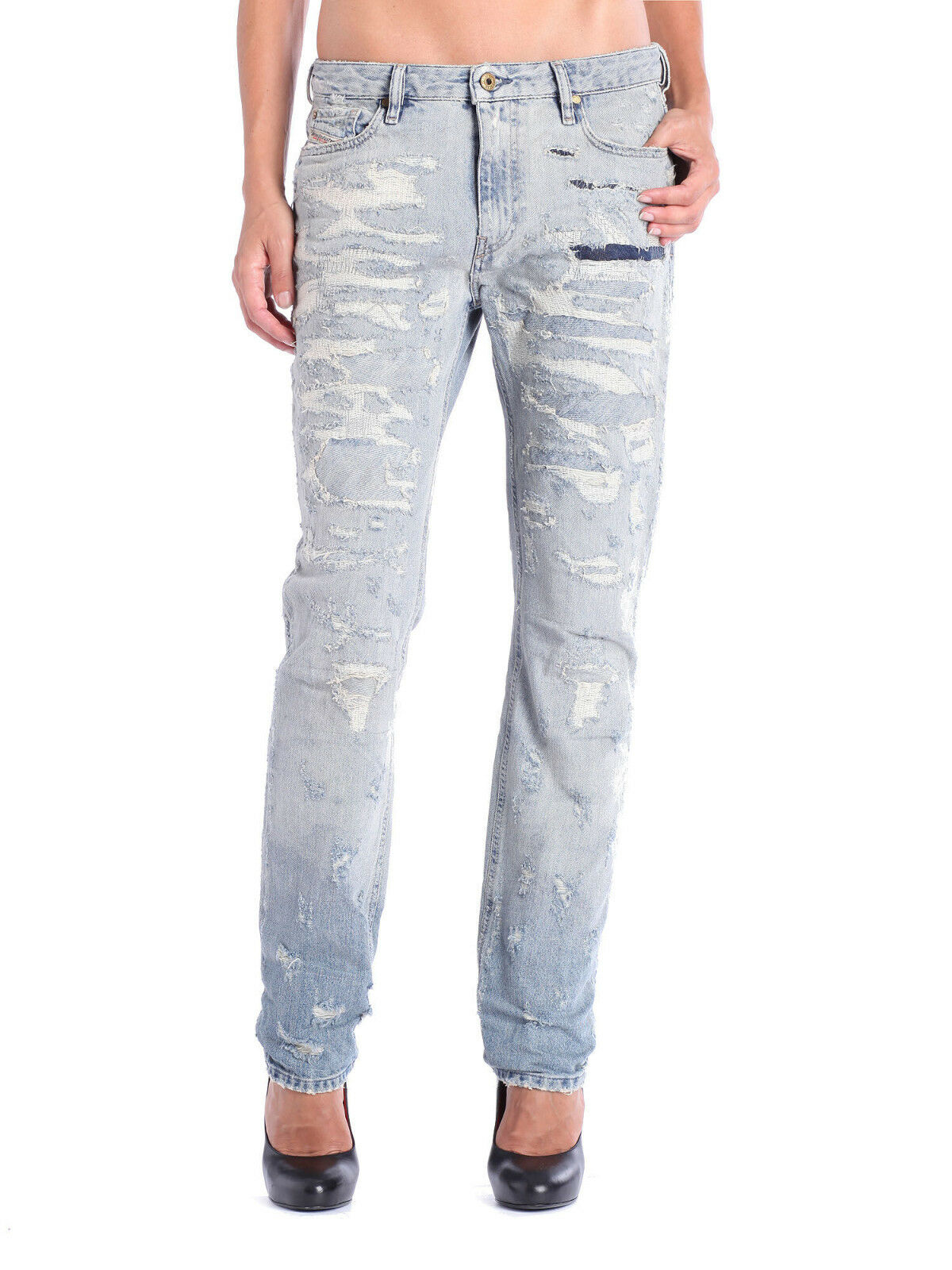1535 Authentic Rare DIESEL Women's Rizzo Super Distressed Regular Slim Jeans