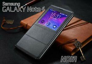 Etui-Flip-S-View-Cover-Noir-Pour-Samsung-Galaxy-Note-4-Auto-Smart-Case-Cover