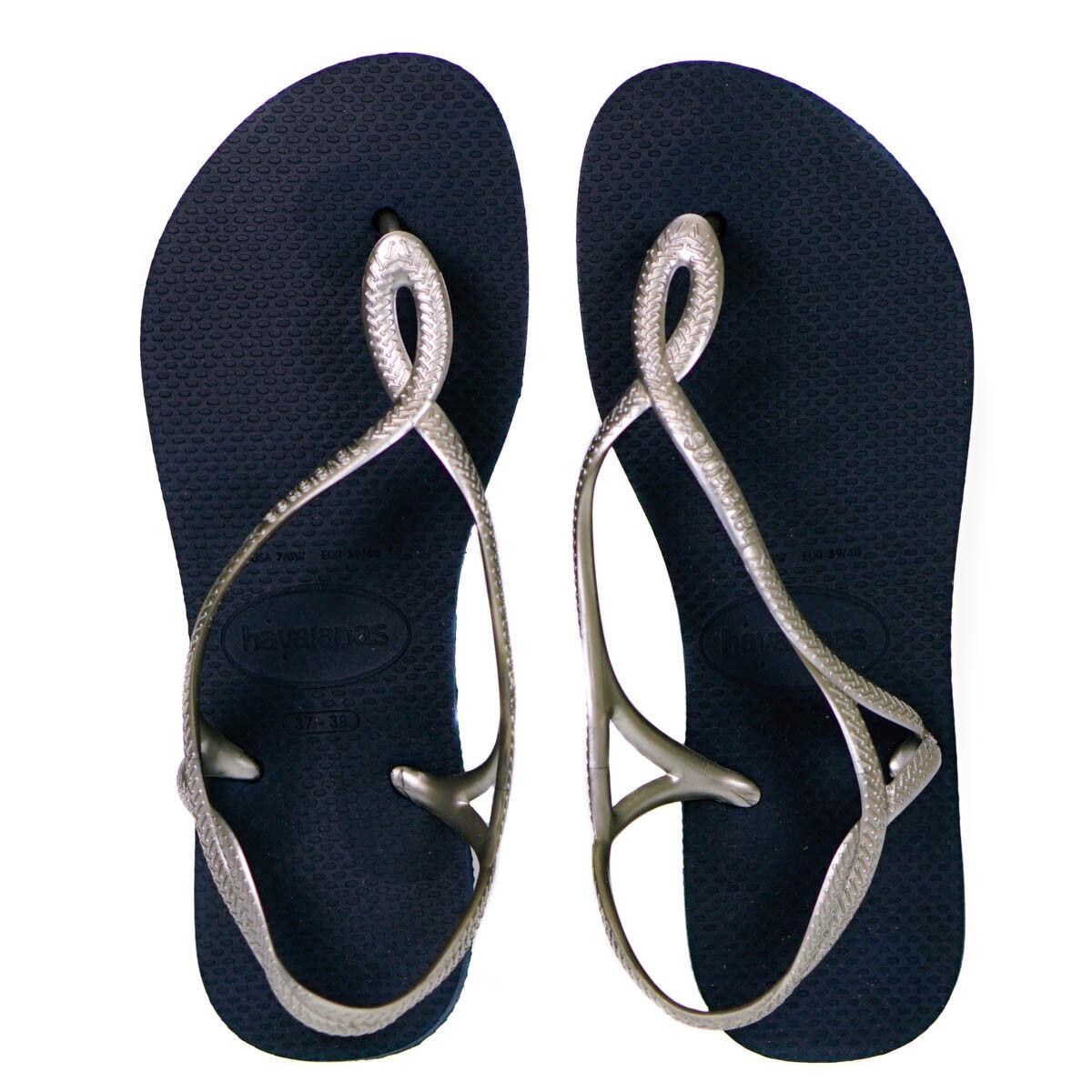 Havaianas LUNA azul marino y Plata Flip Flop Sandalias Size Uk 7//8 euro 41//42
