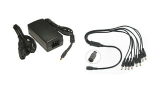 DC 12V 3000mA Power Adapter UL Listed and DC 1 to 4 Power Splitter Cable CCTV