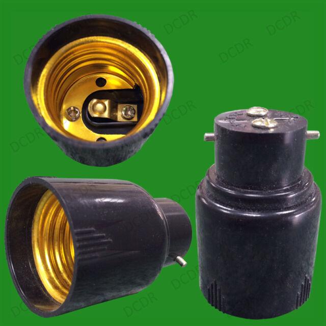 Black Bayonet BC B22 To Edison Screw ES E27 Light Bulb Adaptor Lamp Holder