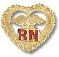 Rn Heart Caduceus Pin Beaded Gold Plate Medical Emblem W/safety Catch Nurse