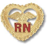 Rn Heart Caduceus Pin Beaded Gold Plate Medical Emblem W/safety Catch Nurse
