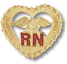 RN Heart Caduceus Pin Beaded Gold Plate Medical Emblem w/Safety Catch Nurse New
