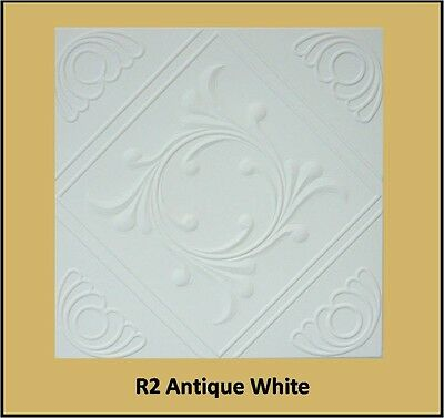 Decorative Texture Ceiling Tiles Glue UP - R2AW Antique White Finish On SALE