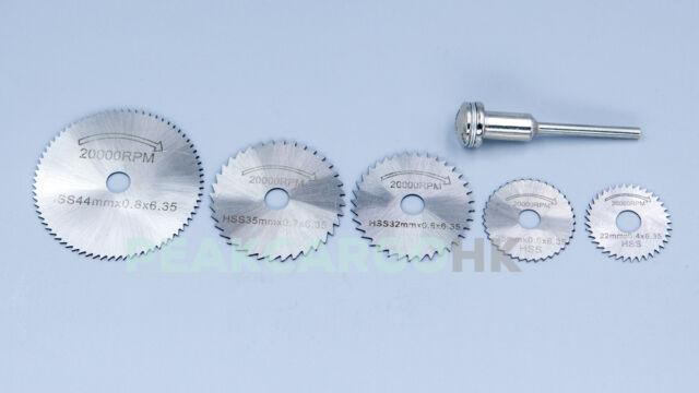 5 blades w/Mandrel HSS Circular Saw Blades Cutting Discs Wheels Rotary Dremel
