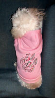 Size Small Pink W/ Green&red Sparkly Pawprint Hooded Sweatshirt Dog Clothes