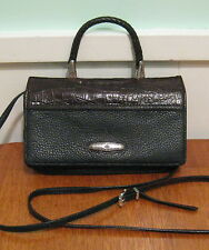BRIGHTON Vintage Small Black Leather Cross-Body Organizer Baguette Purse Handbag