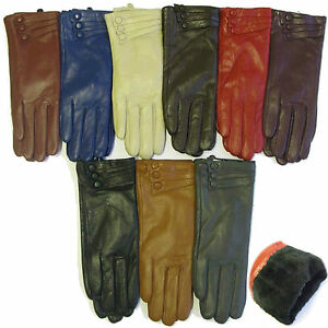 LADIES-LEATHER-GLOVES-WOMENS-GENUINE-PREMIUM-QUALITY-DRIVING-WARM-FUR-LINING