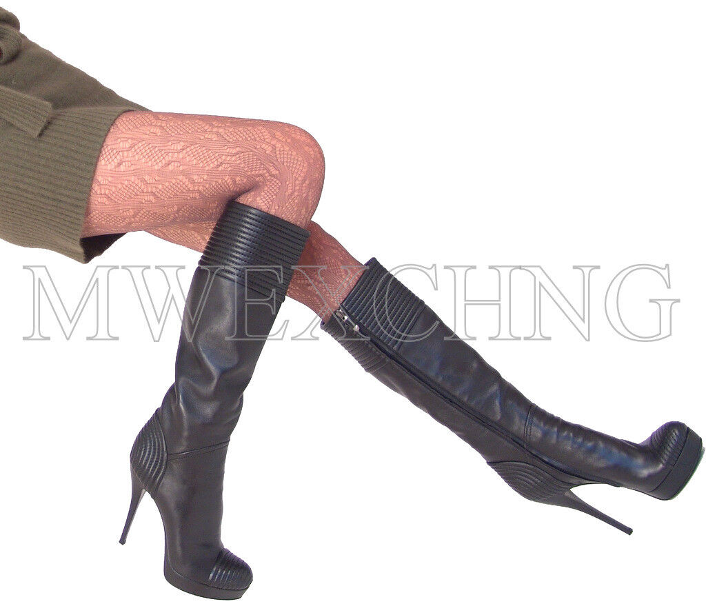 Loriblue Stiletto Black Black Black Leather Platforms Boots EU 40 Womens shoes High Heels 502c89