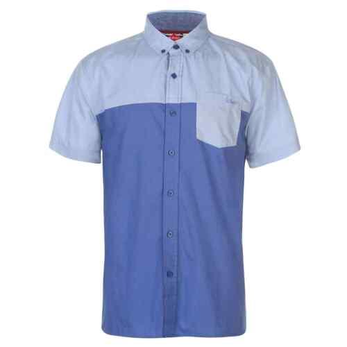 Lee Cooper Mens Short Sleeve Shirt Casual Cotton Colour Block Chest Pocket