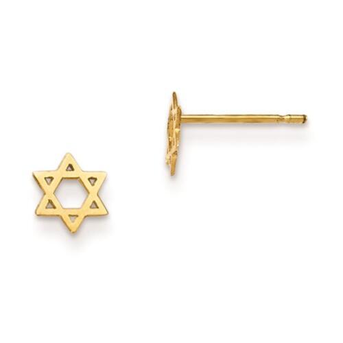 14k Yellow Gold Polished Madi K Childrens Star of David Post Earrings 6mm x 6mm